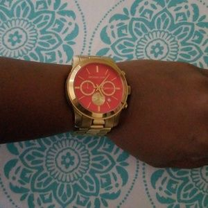 Gold MK Watch with Orange Dial